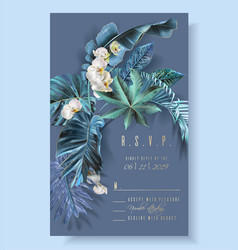 tropical leaves turquoise and violet wedding cards vector image