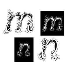 Two letters M and N in floral style vector
