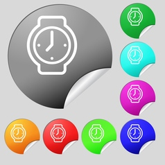 watches icon sign Set of eight multi colored round vector image