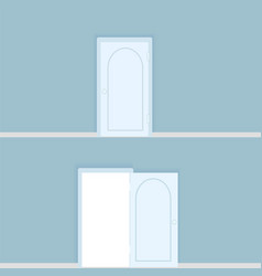 white closed and openned door with frame vector image