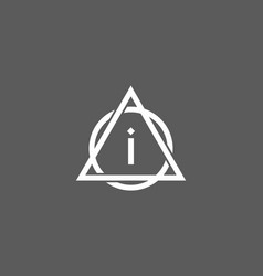 white grey initial letter in triangle circle vector image