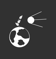 White icon on black background satellite and earth vector