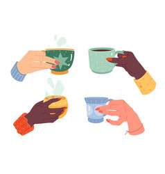 woman hands cups female hand with manicure vector image