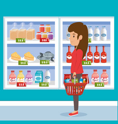 woman with supermarket groceries vector image