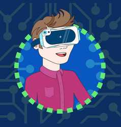 young man wearing 3d virtual reality glasses vector image