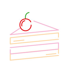 color line sweet cake with cherry fruit vector image