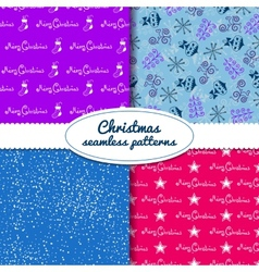 Simple Christmas seamless paterns vector image