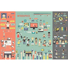 Social Media Infographic set with charts and other vector image
