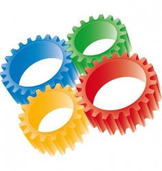 3d colorful gears vector image