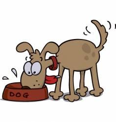 dog eating food vector image vector image