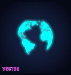 Earth globe sign neon light design vector