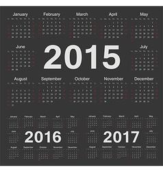 European circle calendars 2015 2016 2017 vector image vector image