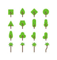 flat design tree set vector image vector image
