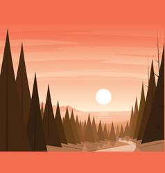 forest path and coast on the background scene vector image vector image