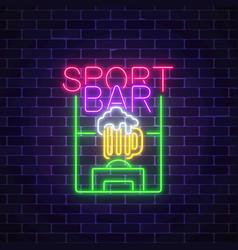 Glowing neon sport bar concept on dark brick wall vector