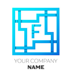 realistic letter f logo in colorful square maze vector image vector image