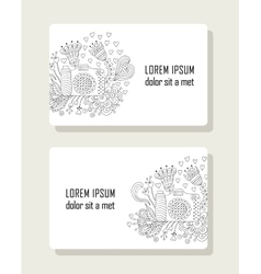 Set of cards with hand drawn floral elements and vector image vector image