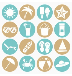 white icons summer beach vector image vector image