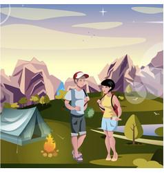 couple tourist hiking landscape background vector image