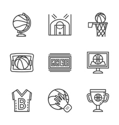 Flat black line basketball icons vector image