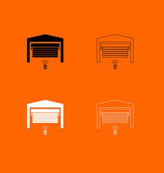 garage door black and white set icon vector image vector image