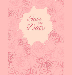 postcard with pink delicate roses and place for vector image