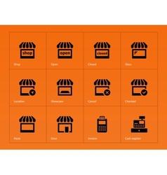 Shop icons on orange background vector image
