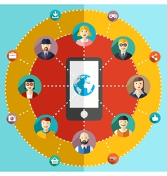 Social network flat with avatars earth mobile vector image vector image