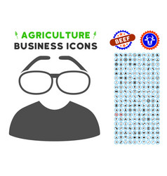 Clever spectacles icon with agriculture set vector
