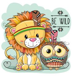 cute cartoon tribal lion and owl vector image