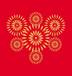 Fireworks gold on red background vector image vector image