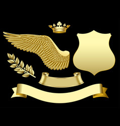 gold wing crown sign ribbon and laurel branch vector image vector image