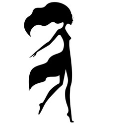 graceful girl with waving hair vector image vector image