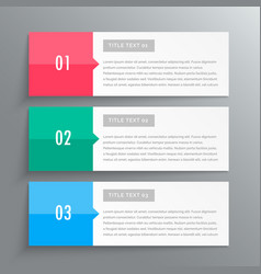 infographic banners showing three steps for your vector image vector image
