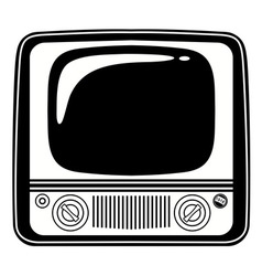 Retro Black and white vintage TV on white vector image vector image