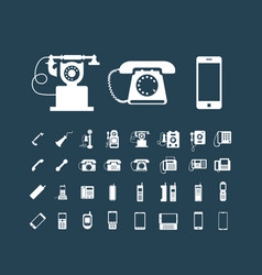 retro phone icon set vintage white icons vector image vector image