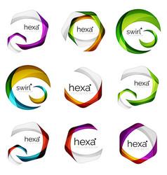 set of abstract hexagon logos geometric brand vector image