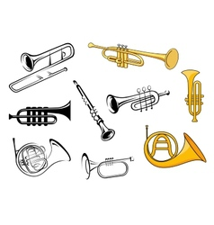 Wind instruments in sketch and cartoon style vector image