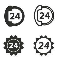 24 hour service icon set vector
