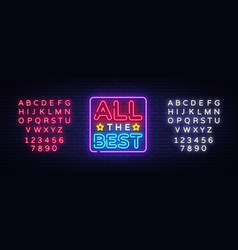All the best neon text all the best neon vector