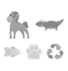 An unrealistic monochrome animal icons in set vector