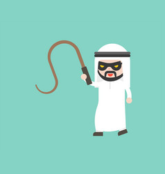 Arab businessman with mask and whip ready to use vector