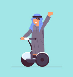 arab schoolboy riding electrical scooter smiling vector image