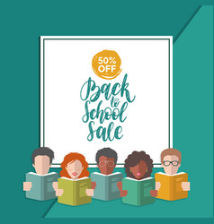back to school sale hand lettering in frame vector image