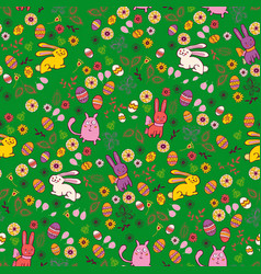 Background with easter bunnies and eggs vector
