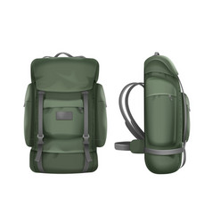 Big green travel backpack vector