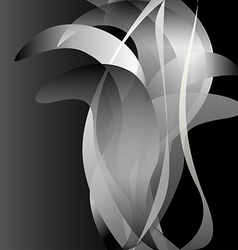 Black and white flower isolated background dark vector image