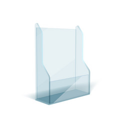 Blank flyer glass or plastic transparent stand vector