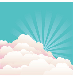blue sky with beautifull clouds and sun nature vector image