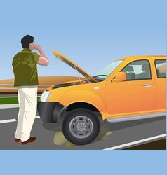 Calling roadside assistance for breakdown vehicle vector
